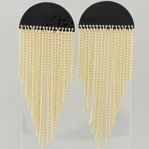 Jewelry - Black and Gold Fringe Earrings